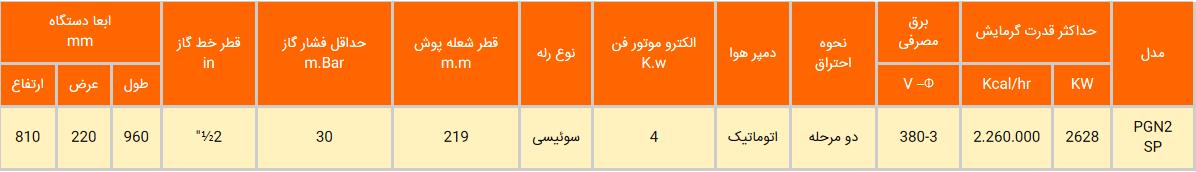 مشعل گازی ایران رادیاتور مدل PGN2-SP