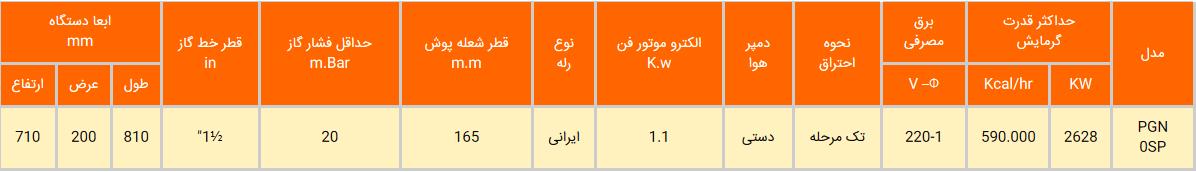 مشعل گازی ایران رادیاتور مدل PGN0SP